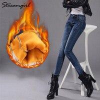 Warm Jeans Women Denim Pants Women's Winter Velvet Jean Femme Womens Black Embroidered Jeans Stretch Woman Warm Pants Women 2018