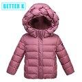 Invierno nueva capa de los niños niñas abrigo de invierno con capucha de la chaqueta de los niños del bebé hacia abajo chaqueta de invierno para niñas