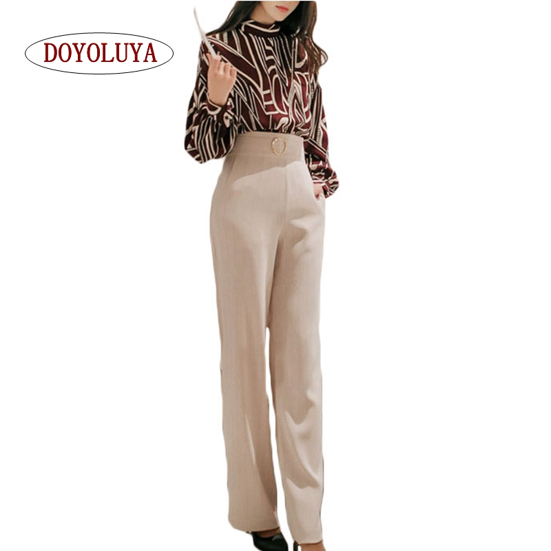 [DOYOLUYA] 2 Pieces Set Women Elegant Office Lady Suits Long Sleeve Printed Blouses Zippers Wide Pant Casual Pant Suits Autumn