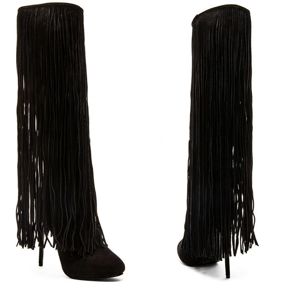 Round Toe Black Suede Leather Long Tassel Thin High Heels Motorcycle Boots Knee High Fashion Woman Dress Booties Shoes ancient greek lace up leather suede knee high women boots round toe thick high heels fashion woman motorcycle boots shoes women