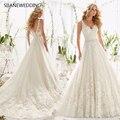SIJANE Romantic White / Ivory Lace Appliques Short Sleeves A-line Dresses Princess Banquet Dress 0556