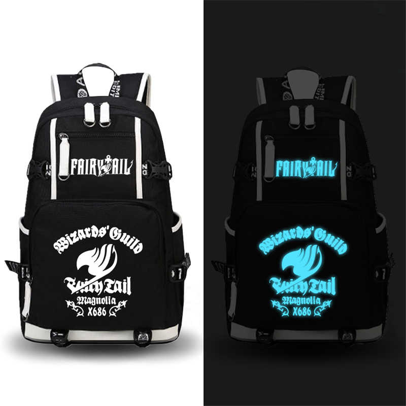 High Quality Hot Anime FAIRY TAIL Natsu Luminous Printing Military Backpack School Backpacks for Teenage Girls Canvas Bags