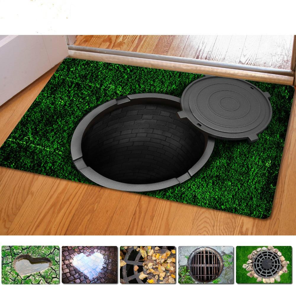 40*60cm Entrance Doormats Funny Rubber Door Mat Fashion 3D Trap Printed Carpet For Living Room Bedroom Floor Mats Kitchen Rugs