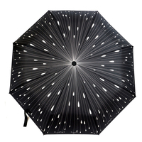 Creative Meteor Fully Automatic Umbrella Fashion Black 3 Folding Sun Umbrella Rain Women Men Umbrella Windproof