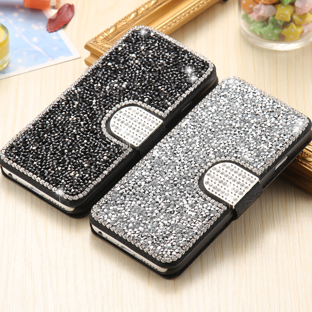 2e97d451a7d TANZ Bling Diamond Case For iPhone 7 7P Fashion Rhinestone Glitter Wallet  Flip Leather For iPhone 6 6S Plus Mobile Phone Cover-in Fitted Cases from  ...