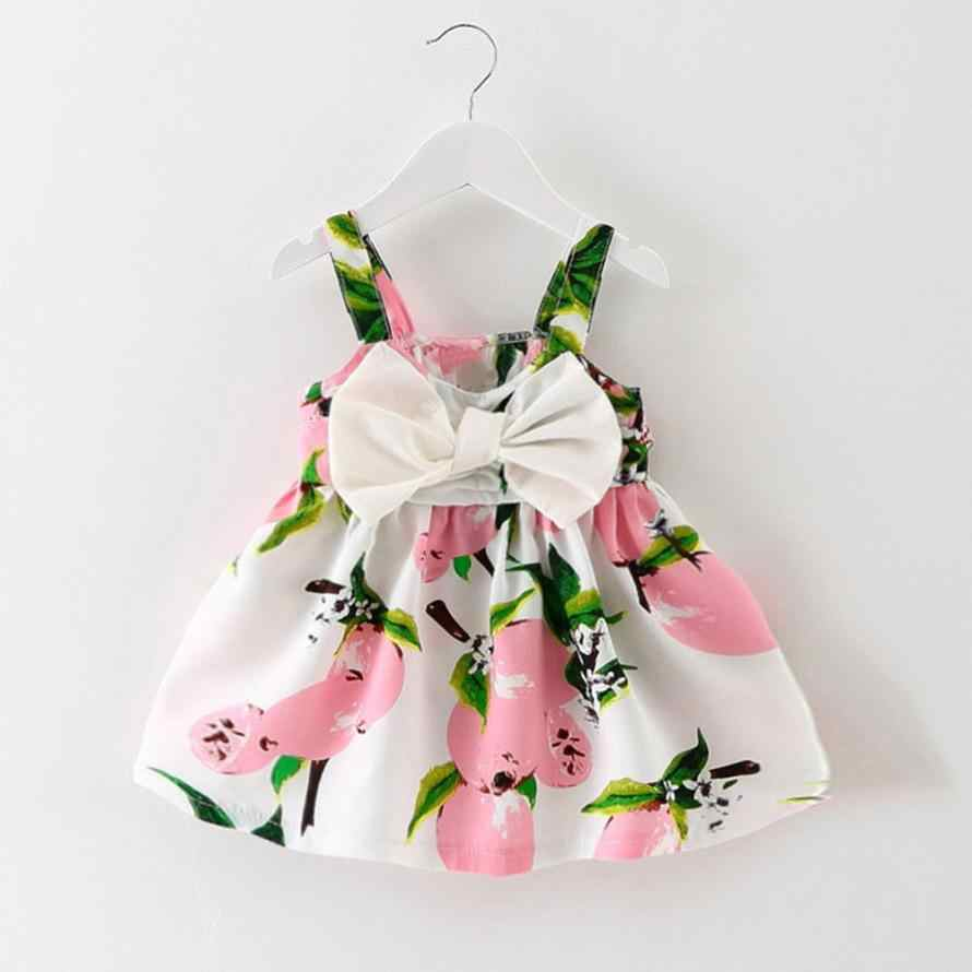 Baby Girl Clothes Lemon Printed Infant Outfit Sleeveless Princess Gallus Dress 15