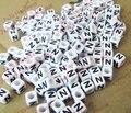 Модные тонкие Алфавит/буквой N акрил Cube Бусины свободные DIY Бусины 6/7/10 мм 100 шт. - фото