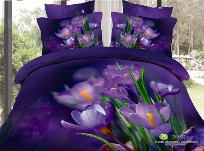 3d Blue Purple Floral Bedding Set Queen Size Bedspread