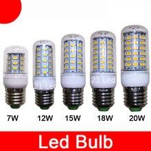 2021 venta al por mayor nuevo gran oferta E27 E14 W 9W 12W 15W 20W SMD5730 llevó la lámpara del bulbo del maíz caliente/blanco iluminación envío gratis