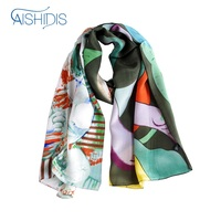 Genuine Silk Long Unisex Wrap Shawl Scarf Drape Softness Cool Feeling Summer Style Long Towel Office