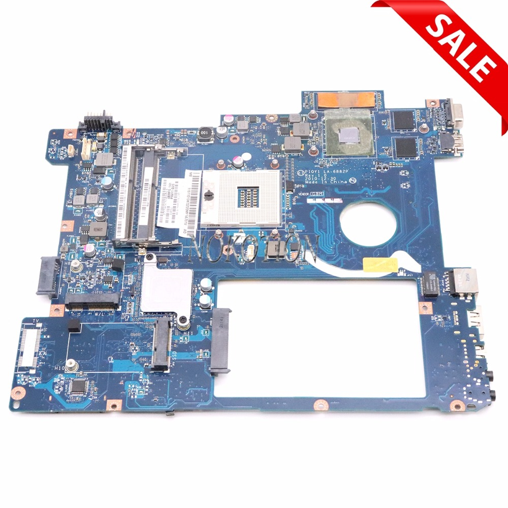 NOKOTION Laptop Motherboard for lenovo Y570 Intel HM65 NVIDIA N12P-GT1-A1 GT550M ddr3 pga989 Main board PIQY1 LA-6882P piqy1 la 6882p main board for lenovo y570 laptop motherboard hm65 ddr3 gt555m 2gb video card 100