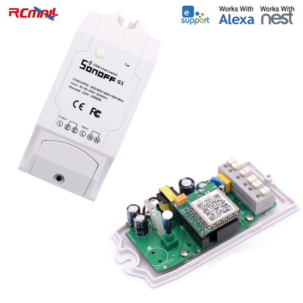 RCmall Sonoff G1 GPRS GSM Remote Power Smart Switch Support SIM card eWelink for Greenhouse Pet Feeding FZ2266 sonoff g1 wifi switch gprs switch gsm mobile phone remote controller water pump lights outdoor use