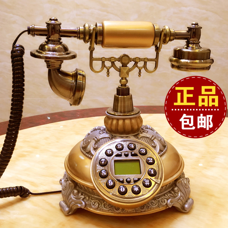 Antique phone European family fixed office antique decorative retro telephone caller ID Decoration home Dial number