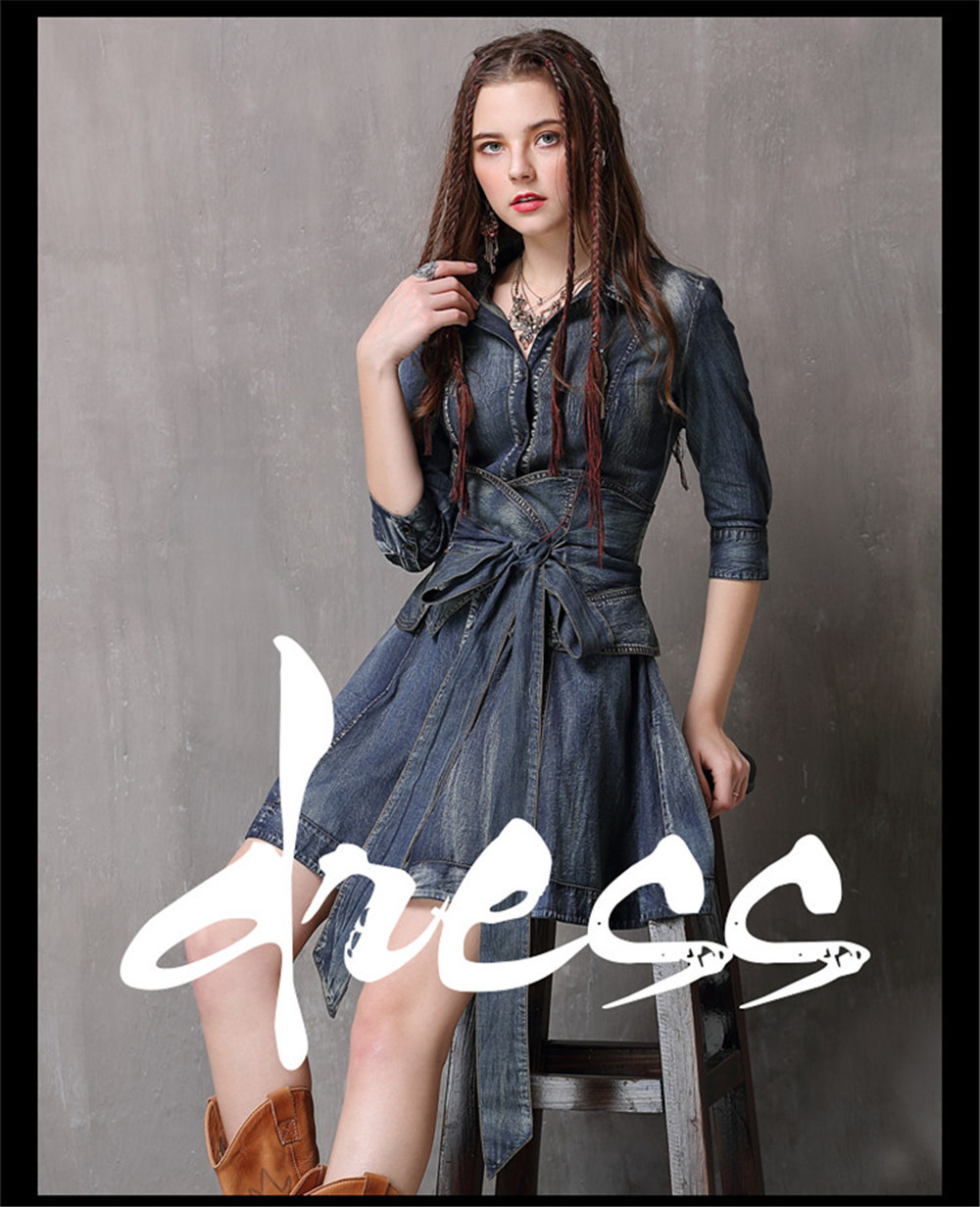 Vintage Summer Sashes Dress 2018 New Denim Three Quarter Sleeve  Dresses Turn-down Collar A-line Single Breasted Vestios (1)