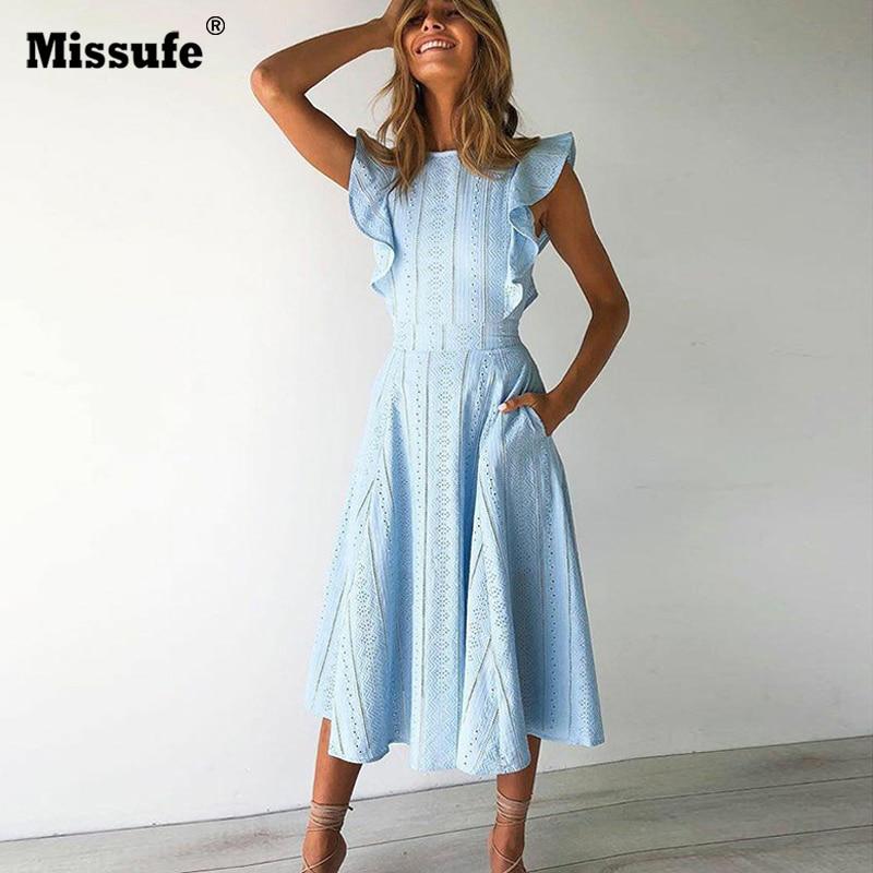 Missufe remiendo elegante del cordón del vestido del verano de las mujeres Ruffles Midi O cuello túnica femenina 2018 una línea de cremallera vestidos de dama