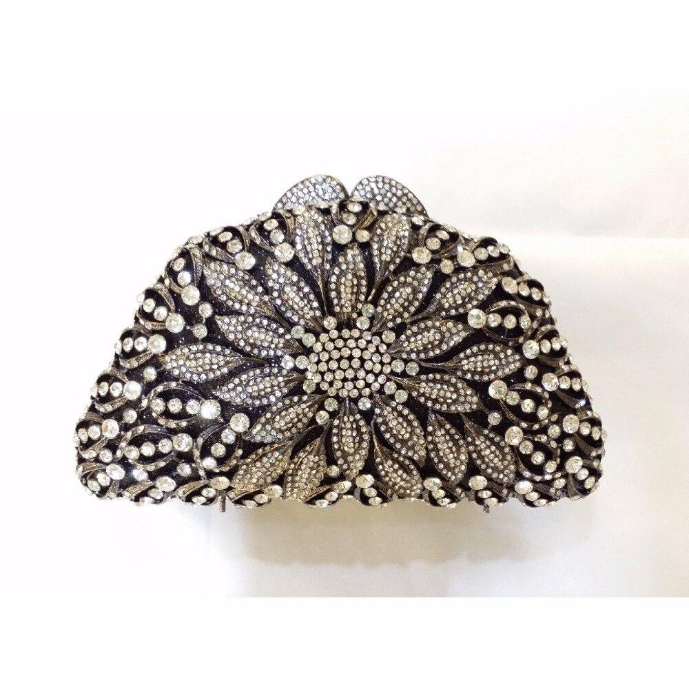 ФОТО 8351BS Crystal Flower Floral Bridal Party Black hollow Metal Evening purse clutch bag handbag case box