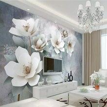 Пользовательские 3d фрески обои винтажные тисненые цветы фон