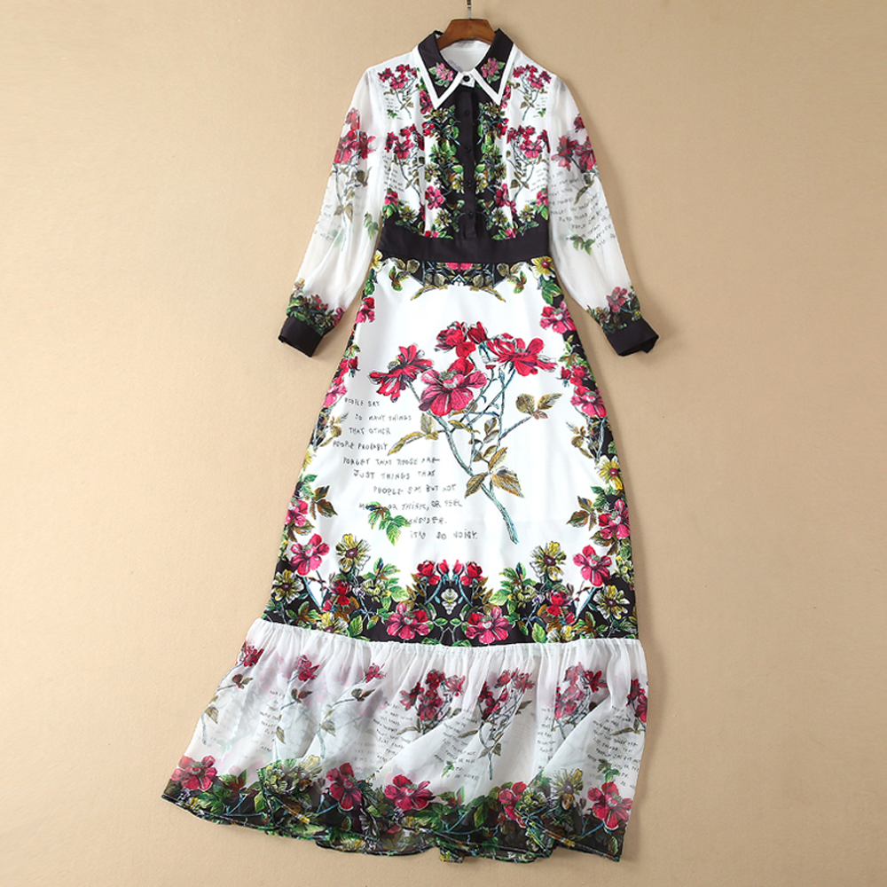 Red RoosaRosee Fashion Runway Designer Women Maxi Long Dress Beads Elegant Red Flower Print Wrist Sleeve