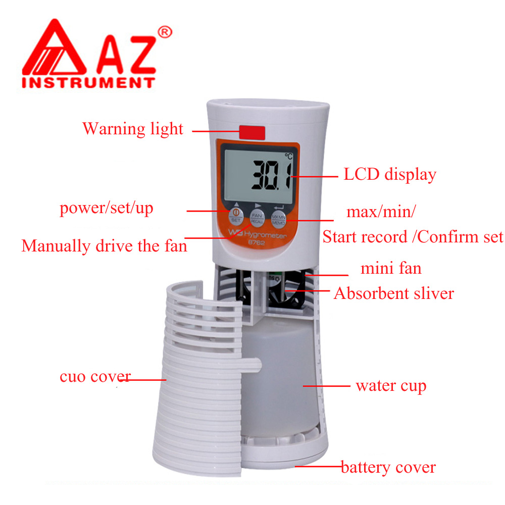 AZ8762 Digital Wet /Dry Bulb Thermometer ,Greenhouse temperature measure Hygrometer w/RH% Relay Industrial wet bulb thermometer az8760 digital dry hygrometer greenhouse dry bulb thermometer and humidity figures temperature tester instrumentation