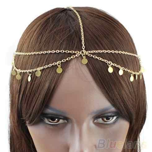 Cadena de la cabeza de la gota del Círculo de las mujeres bohemias joyería de la cabeza del baile de la frente Banda del pelo 1NWE 1Q6Q