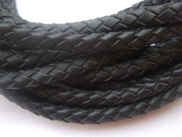 1 Yard 10*7mm Black/Brown Braided Real Leather Cord for necklace bracelet