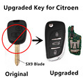Upgraded Car Remote Key For Citroen Saxo Picasso Xsara Berlingo with SX9 Blade Old C5 2 Buttons Keyless Entry Fobik