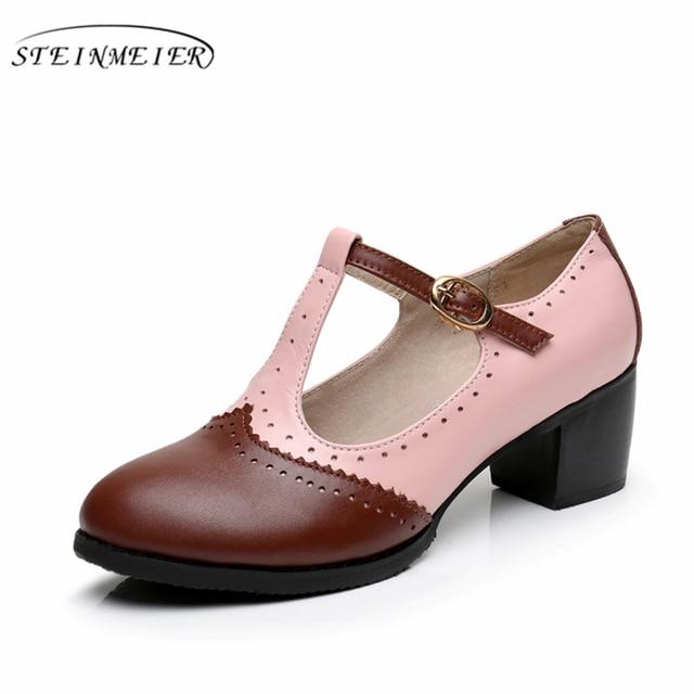 9d8b92380 Women summer Oxford sandals shoes Genuine leather ladies heel Sandals woman  2019 buckle handmade Vintage brown shoes