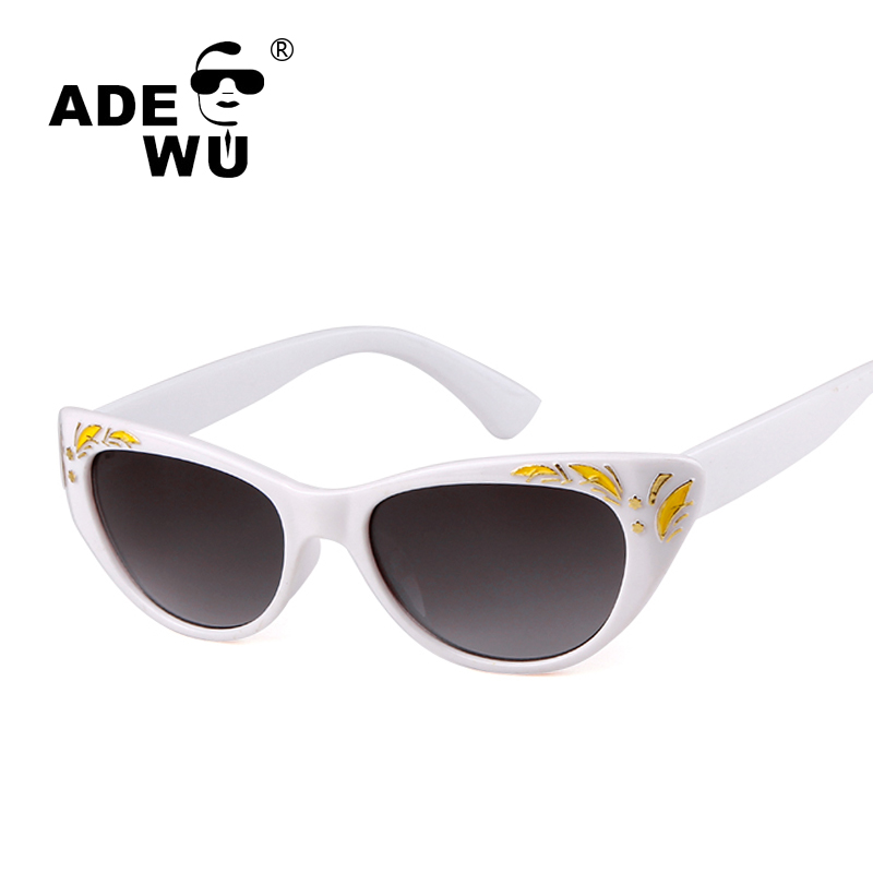 ADE WU Cateye Sunglasses Women UV400 Gradient Sunglasses For Women Sexy Flower Frame Fem ...