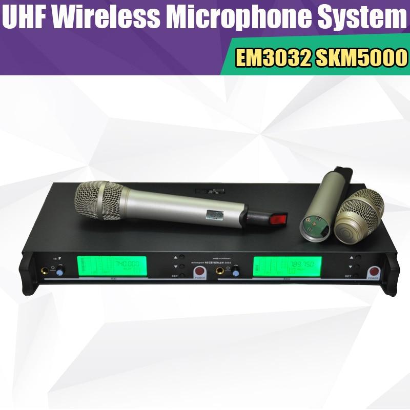 bilder für Neue EM3032 Hochwertige Drahtlose 2 handheld mic skm5200 skm5000 UHF/PLL professiona Wireless-mikrofonsystem