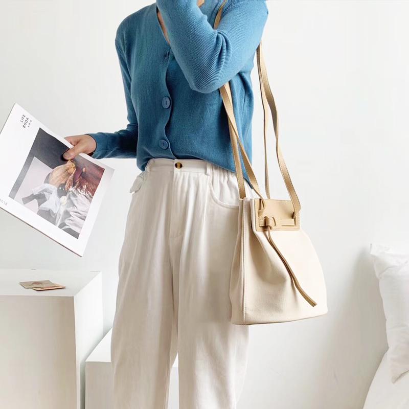 New Women Bags Korean Canvas Shoulder Bag Casual Canvas Cotton Bag Korean Style Drawstring Small Bucket Bag Women Crossbody Bag