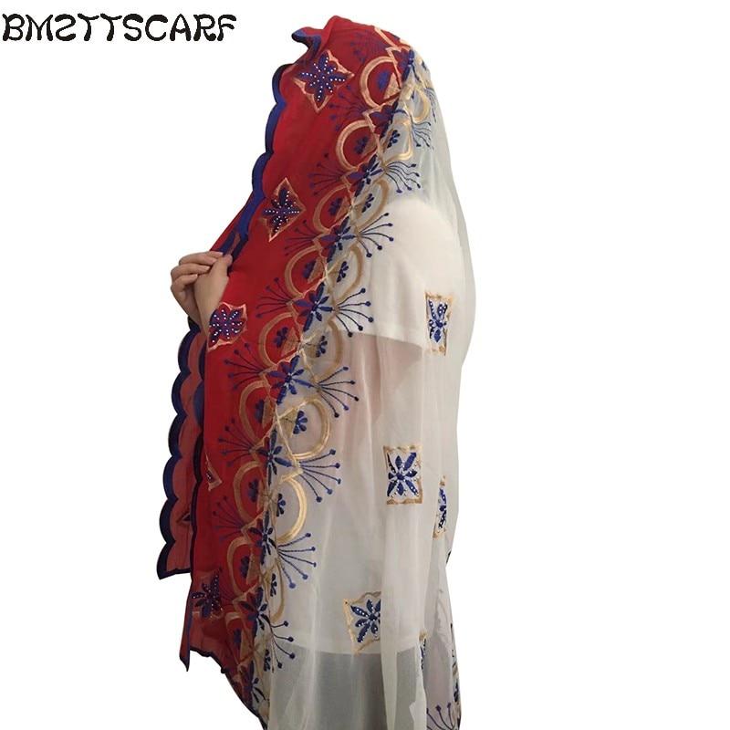 New African Scarfs muslim embroidery women big chiffon   scarf   for shawls   wraps   headscarf nice designer   scarf   BM436