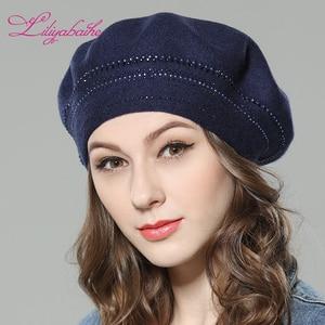 Image 5 - Nuevo gorro de lana de punto para mujer Liliyabaihe, gorros con decoración de diamantes circundantes, sombrero de Color sólido a la moda