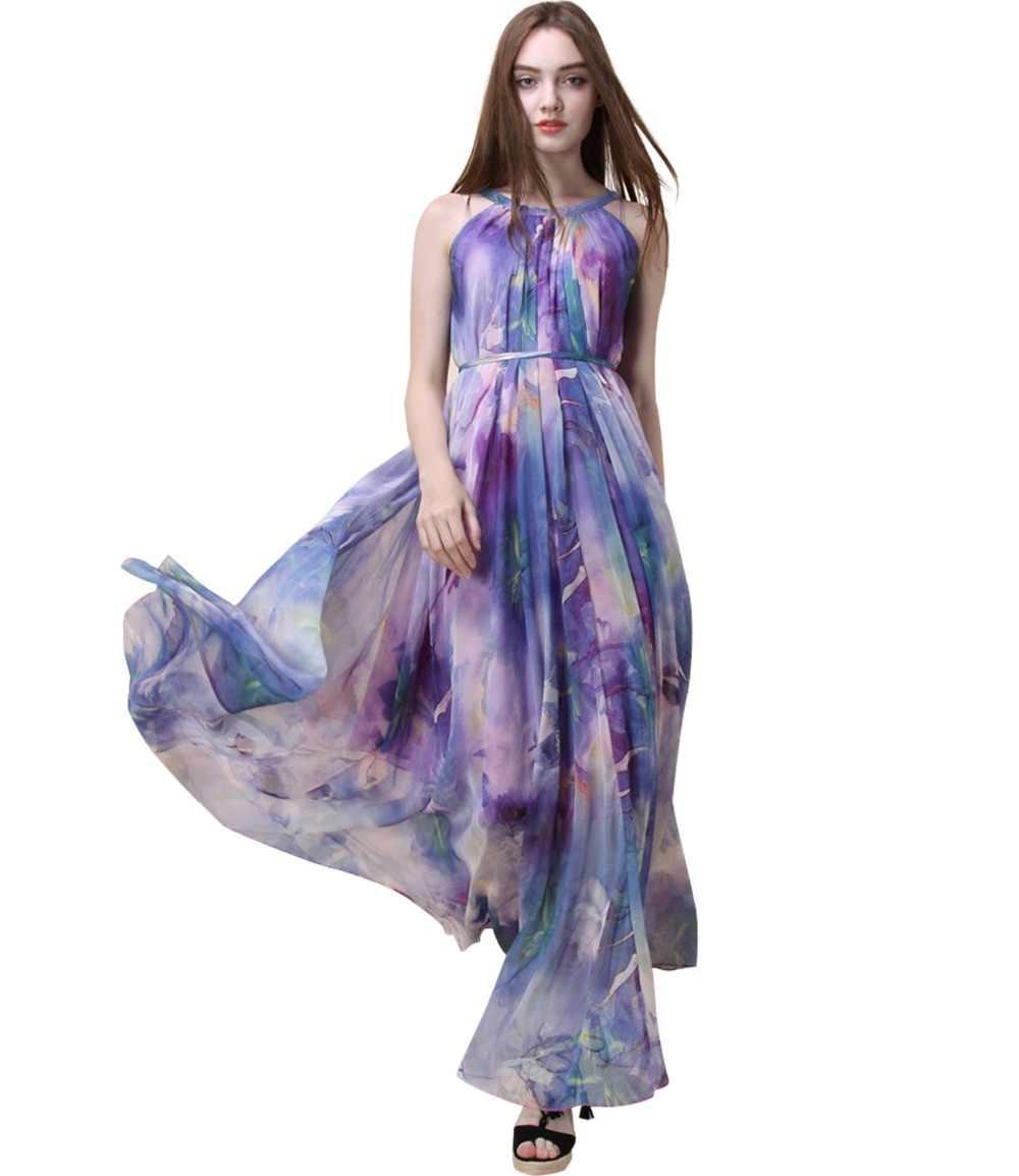 2018 New Lavender Floral Long Chiffon Maxi Dress Gown Plus Sizes celebrity  graduation Dinner cd884ea7cb22