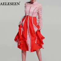 Luxury Patchwork Runway Dress 2018 Summer Spring Fashion Pleat Pink / White Lace Mesh High Quality Mid Calf Ruffles Women Dress