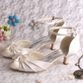 (20 Colors)Customized Low Heels Women Fashion Summer Sandals Ivory Satin 2015
