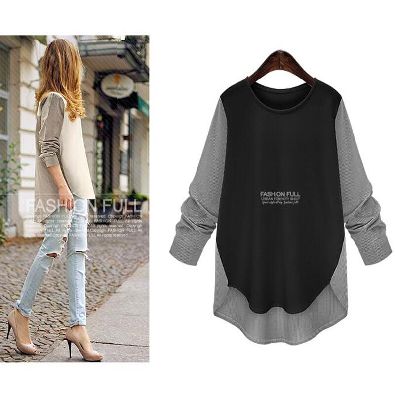 Autumn 2018 New Women Blouses Sexy Casual Loose Women Tops Long Sleeve O-neck Patchwork Shirts Plus Size Blusas Femininas XL-5XL