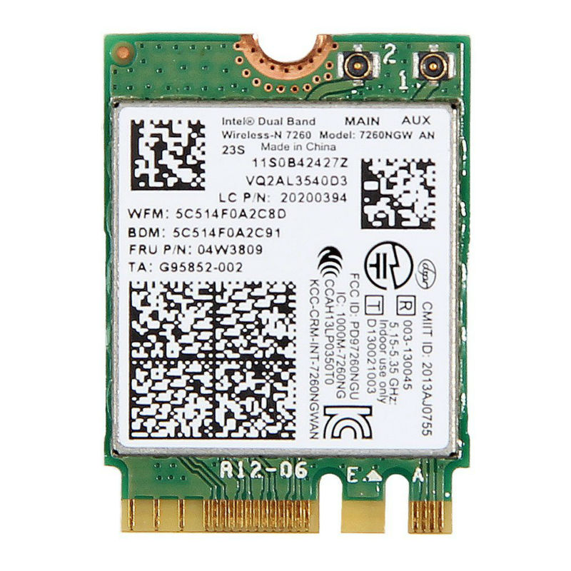 Intel Wireless-N 7260 7260NGW AN 802.11agnot 2x2 Banda dual NGFF WiFi - Equipo de red