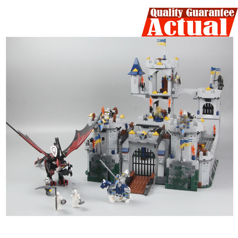 Lepin 16017 Fantasy Era King`s Castle Siege Dungeon Dragon Knights Skeletons Building Blocks Bricks Toy For Kids Compatible 7094