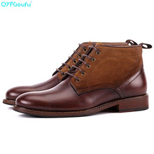 QYFCIOUFU New Men Martins Boots Genuine Leather High Quality Leisure Lace-up Man Shoes Ankle Vintage Male Chelsea