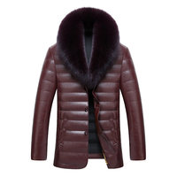 2017new Arrival Leather Luxury Fur Collar Hihg Quality Male Down Jacket Winter Factory Direct Sales Fashion