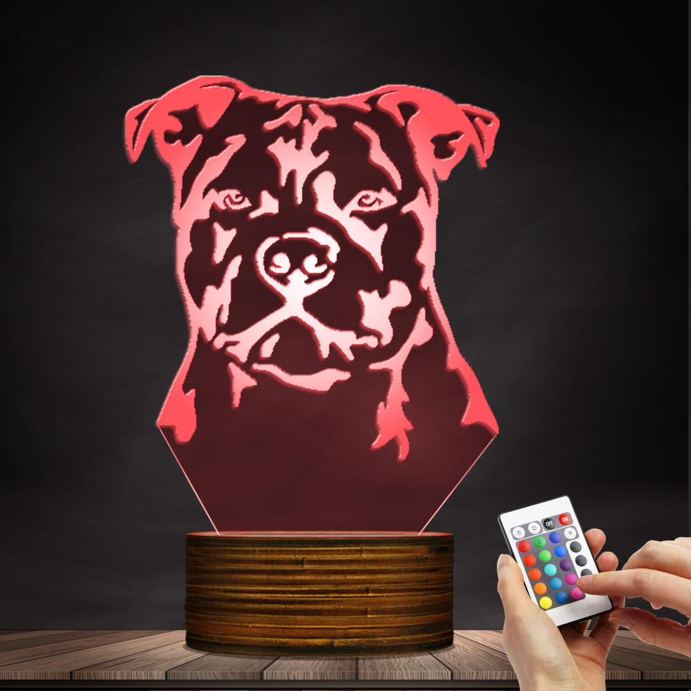 1Piece Staffordshire Bull Terrier LED Night Light Animal Pet Dog Puppy 3D Optical illusion Lamp Home Decor Table Lamp Desk Light free shipping 1piece new arrive marvel anti hero deadpool figure light handmade 3d bulbing illusion lamp led mood light for kid