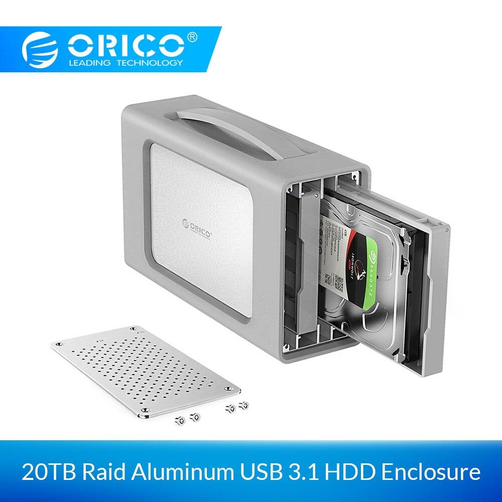 Boîtier de disque dur ORICO 2 baies en alliage d'aluminium type-c avec Support de couverture Raid et Silicone 20 to de stockage Station d'accueil 3.5 pouces