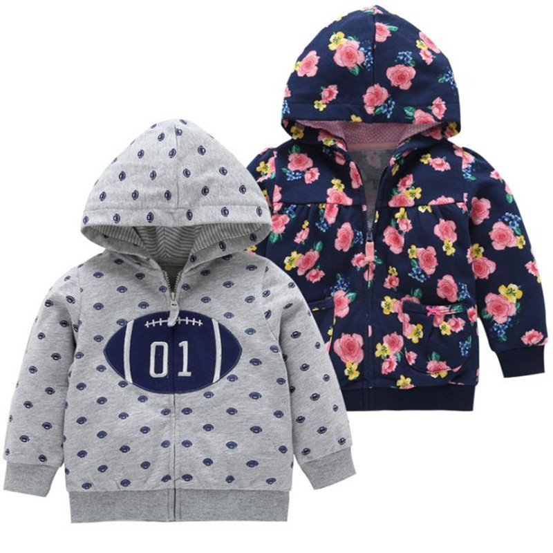 2018 Autumn Baby Boys Girls Jacket With Zipper Infant Todder Hooded Outerwear Children Kids Cotton Print Floral Outerwear