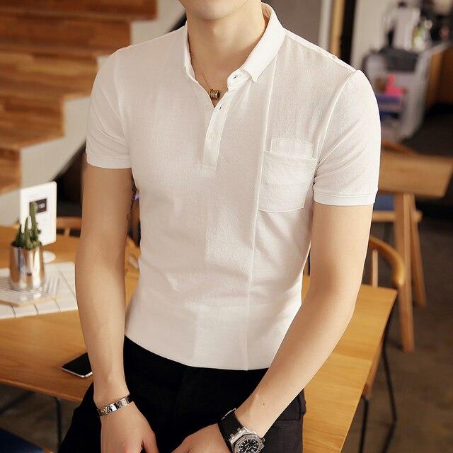 2017 gris blanco negro rosa de manga corta polo camisa de los hombres business casual para hombre polo shirts camisa polo masculino homme polos PA26
