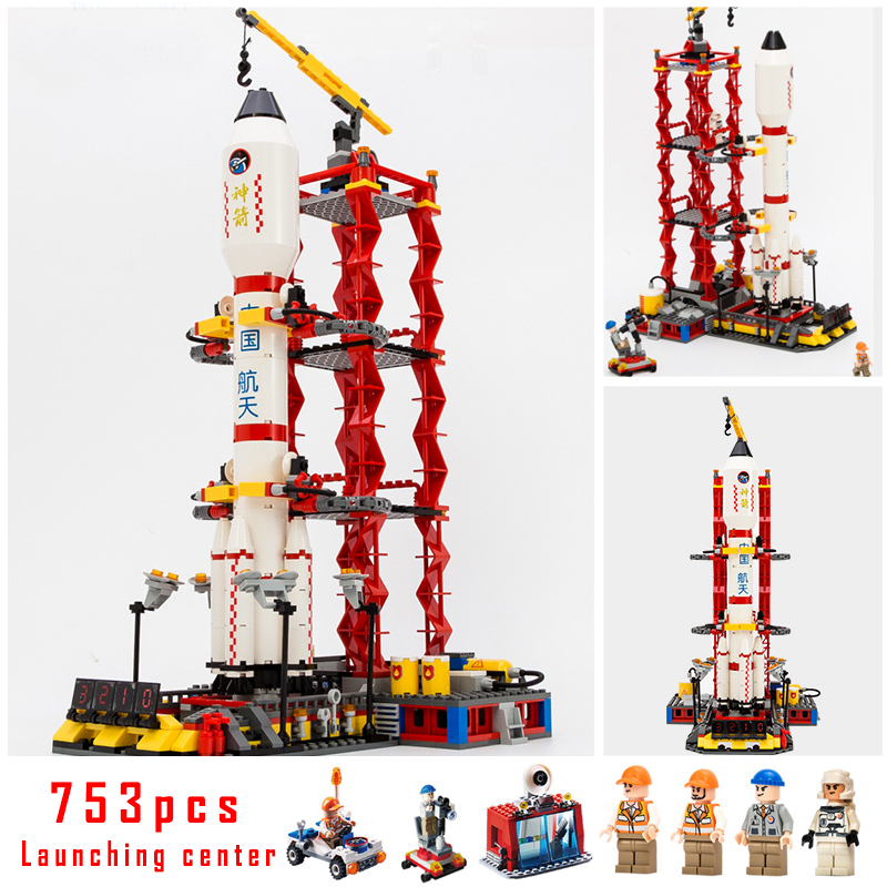 Models building toy Center Rocket Space Blocks 753pcs Building Blocks Compatible with lego city toys & hobbies birthday gift lepin 02012 city deepwater exploration vessel 60095 building blocks policeman toys children compatible with lego gift kid sets