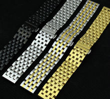 Polished Watchband Gold Stainless steel 20MM 22mm Bracelets strap Solid links butterfly clasp Fashion Watches band