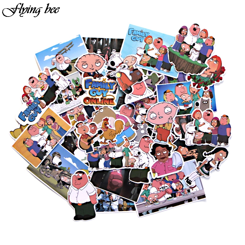 Flyingbee 55 Pcs Family Guy funny Anime Sticker Decals Scrapbooking Stickers for DIY Luggage Laptop Skateboard Car X0010-in Stickers from Consumer Electronics