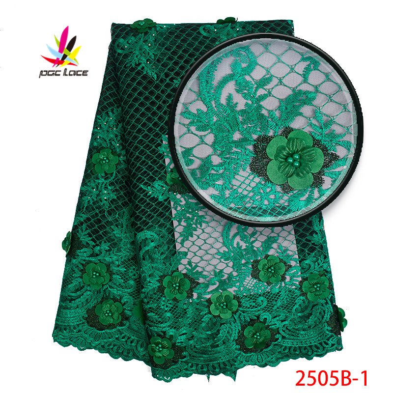 2019 African Lace Fabrics French Green Color High Quality 3D Flowers with Beaded Tulle Lace Fabric