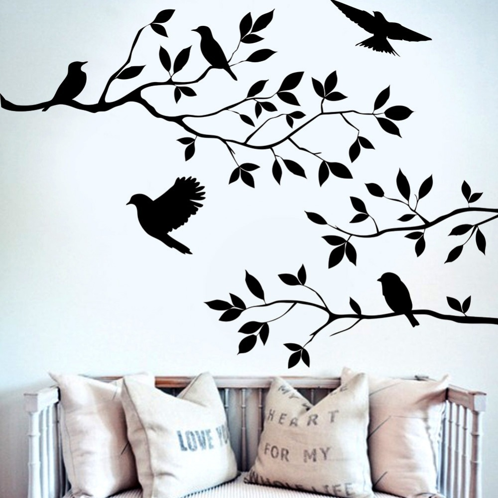 Black tree branch birds wall sticker tree vinyl wall decal mural glass film window stickers home decoration wall art wallpaper