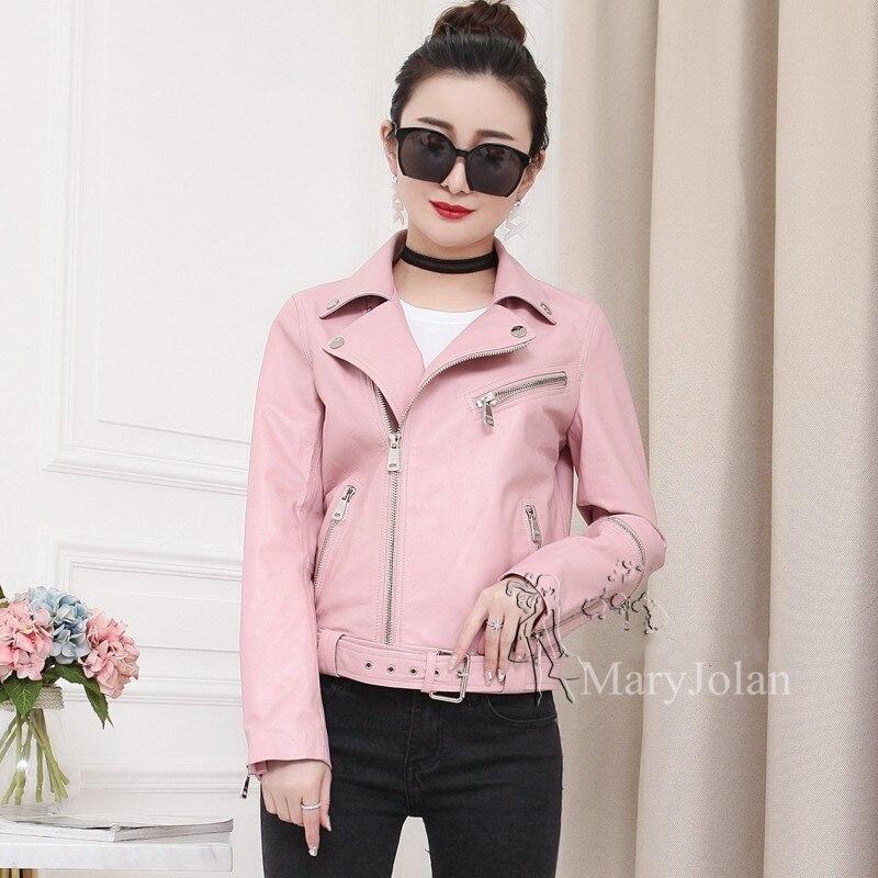 Mince Ceinture Veste En Rose Cuir De Courte Outwear Maryjolan Ol Poche Complet Solide Manches Véritable Manteau Femme Élégante 5HAqnnv
